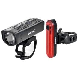 ProX Aero PLUS SET Zestaw lampek rowerowych LED 400 Lm aku Micro USB