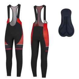 Rogelli Hero Spodnie na szelkach z wkładką czarno czerwone