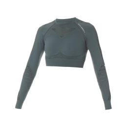 Brubeck Rashguard Crop Top Gym Top damski do ćwiczeń zielony
