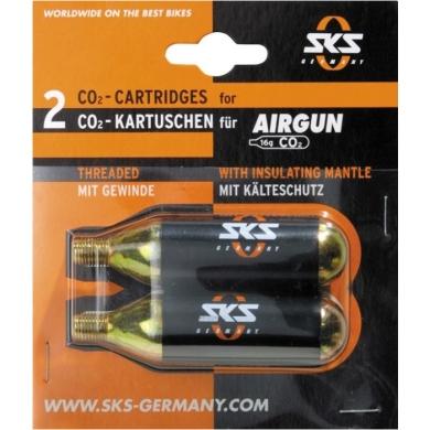 SKS Nabój CO2 z gwintem do pompki Airgun 16g 2szt