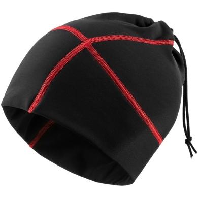 Accent Czapka rowerowa komin czarno czerwona