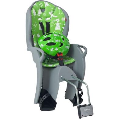 Hamax Kiss Fotelik dziecięcy szaro zielony + kask