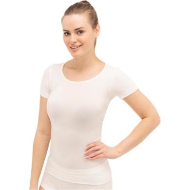 Brubeck Comfort Wool Koszulka damska z krótkim rękawem kremowa