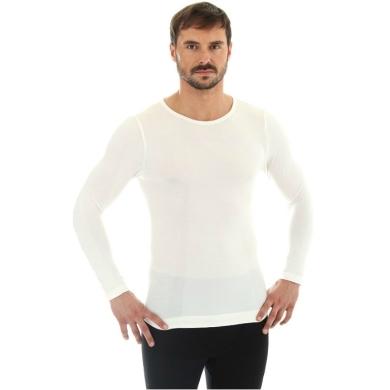 Brubeck Comfort Wool Koszulka męska z długim rękawem kremowa