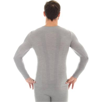 Brubeck Comfort Wool Koszulka męska z długim rękawem jasnoszara