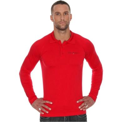 Brubeck Prestige Polo z długim rękawem czerwone