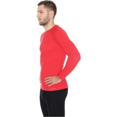Brubeck Active Wool Koszulka męska długi rękaw czerwona