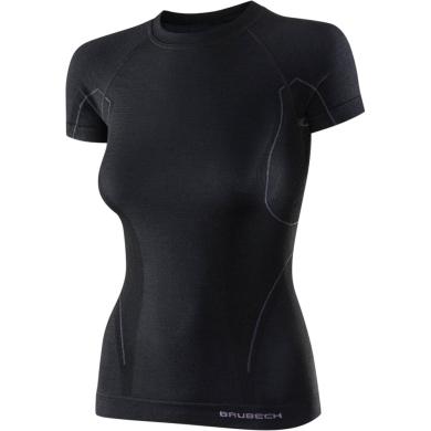 Brubeck Active Wool Koszulka damska krótki rękaw czarna