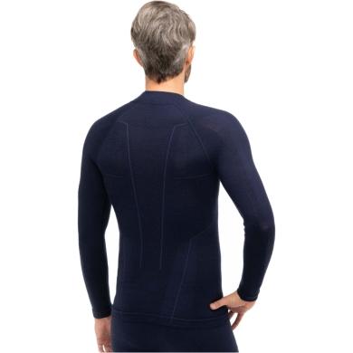 Brubeck Extreme Wool Merino Bluza męska długi rękaw granatowa