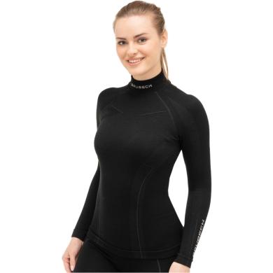 Brubeck Extreme Wool Merino Bluza damska długi rękaw czarna