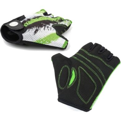 Author Junior X6 Rękawiczki rowerowe dziecięce z krótkimi palcami biało czarno zielone