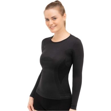 Brubeck Comfort Wool Koszulka damska z długim rękawem czarna