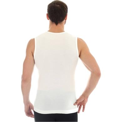 Brubeck Comfort Wool Koszulka męska bez rękawów biała