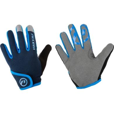 Accent Jockey Rękawiczki dziecięce rowerowe z długimi palcami czarno niebieskie