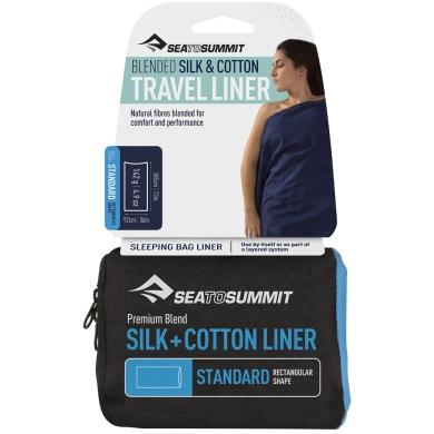 Sea to Summit Silk Cotton Travel Prześcieradło Standard navy blue