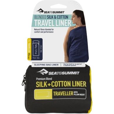 Sea to Summit Silk Cotton Travel Prześcieradło Traveller with Pillow navy blue