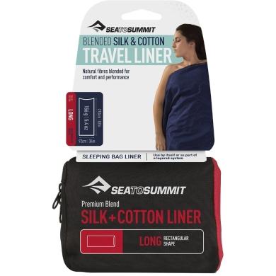 Sea to Summit Silk Cotton Travel Prześcieradło Long navy blue