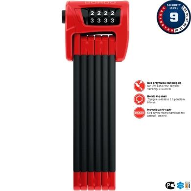 Abus Bordo Combo 6100 Zapięcie do roweru składane SH czerwone