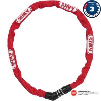 Abus Steel O Chain 4804C 75cm Zapięcie rowerowe łańcuch na szyfr red