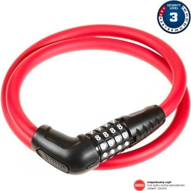 Abus Numerino 5412 Color Zapięcie rowerowe linka na szyfr czerwona