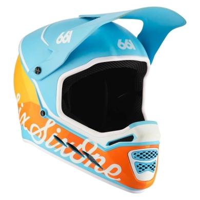 SixSixOne 661 Reset MIPS Kask rowerowy DH FullFace błękitno pomarańczowy