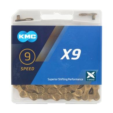 KMC X9 Ti-N Łańcuch 9 rzędowy 114 ogniw + spinka złoty
