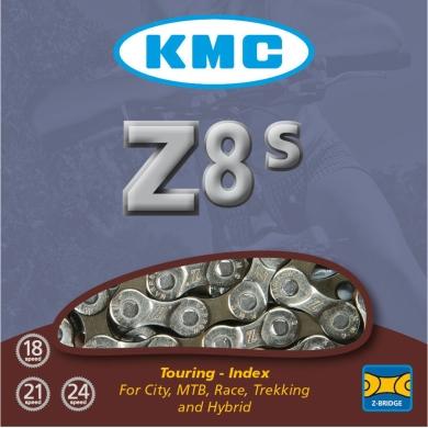 KMC Z8S Łańcuch 8 rzędowy 116 ogniw + spinka srebrny