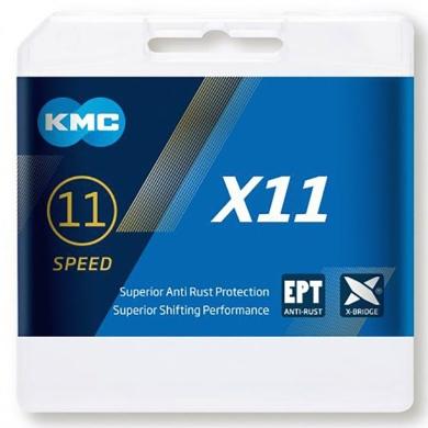 KMC X11 EPT Łańcuch 11 rzędowy 118 ogniw + spinka srebrny