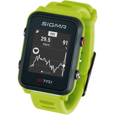 Sigma iD.Tri Set Zegarek do triathlonu z pulsometrem GPS kadencja neon zielony