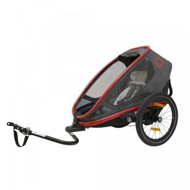 Hamax Outback One Przyczepka rowerowa dziecięca regulowana jednoosobowa szaro czerwona