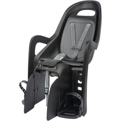 Polisport Groovy Maxi+CSF Fotelik rowerowy dziecięcy na bagażnik ciemno szaro srebrny