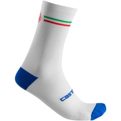 Castelli Italia 15 Skarpetki rowerowe biało niebieskie