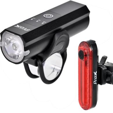 ProX Vesta Set Zestaw lampek rowerowych LED 400 Lm aku Micro USB