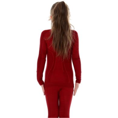 Brubeck Active Wool bluza junior damska z długim rękawem bordowa
