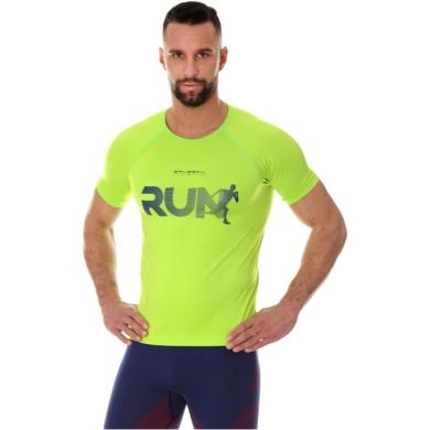 Brubeck Running Air Pro Koszulka męska krótki rękaw neonowa