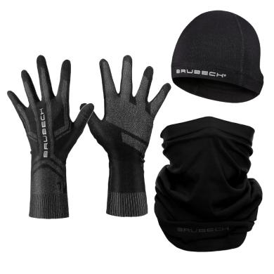 Brubeck Zestaw treningowy dla biegacza czapka + rękawiczki + komin unisex czarny
