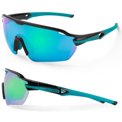 Accent Reflex Okulary czarno turkusowe niebiesko zielone soczewki PC