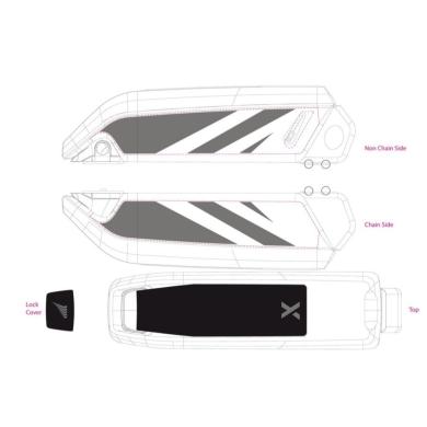 Haibike Naklejki na akumulator Bosch Gen3 do XDURO szaro czarne
