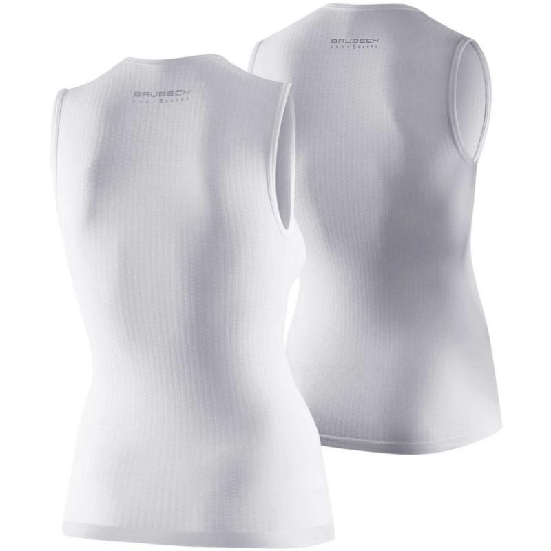 Brubeck Koszulka rowerowa termoaktywna bez rękawów biała
