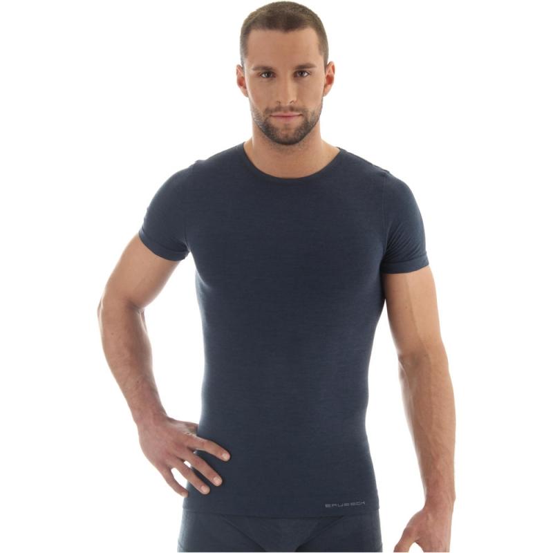 Brubeck Comfort Wool Koszulka męska z krótkim rękawem ciemny jeans