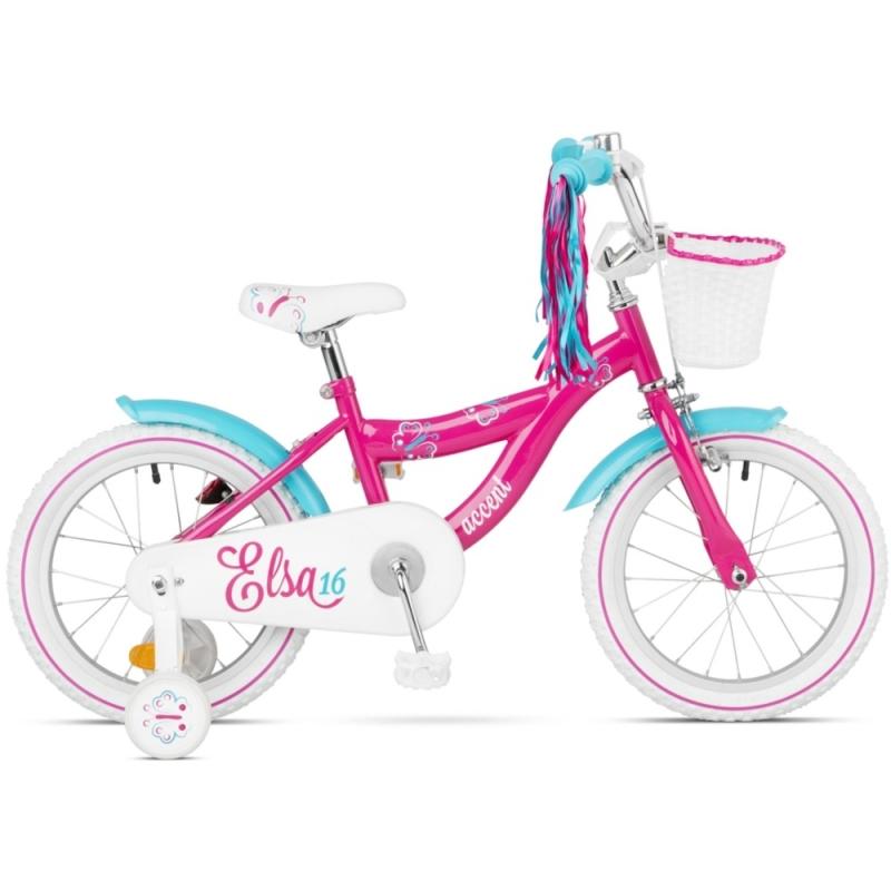 Accent Elsa Rower dziecięcy 16 cali różowy 2020