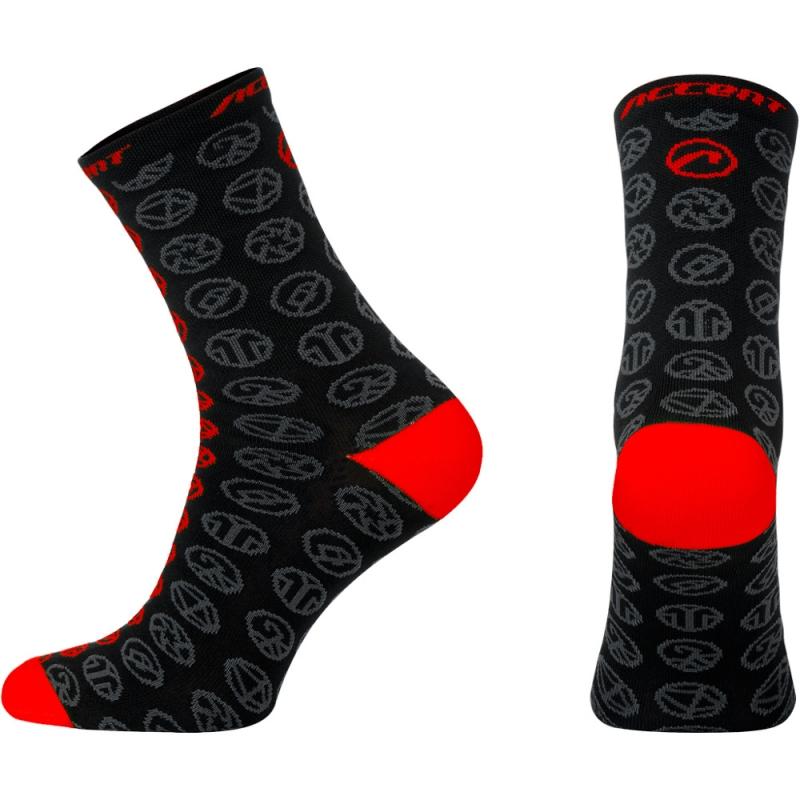 Accent Icon Long Skarpetki rowerowych czarno czerwone