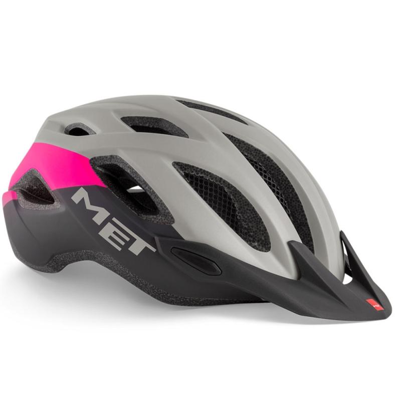MET Crossover Kask rowerowy szaro różowy