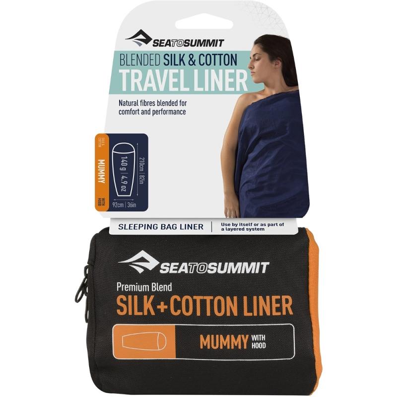 Sea to Summit Silk Cotton Travel Prześcieradło Mummy with Hood navy blue