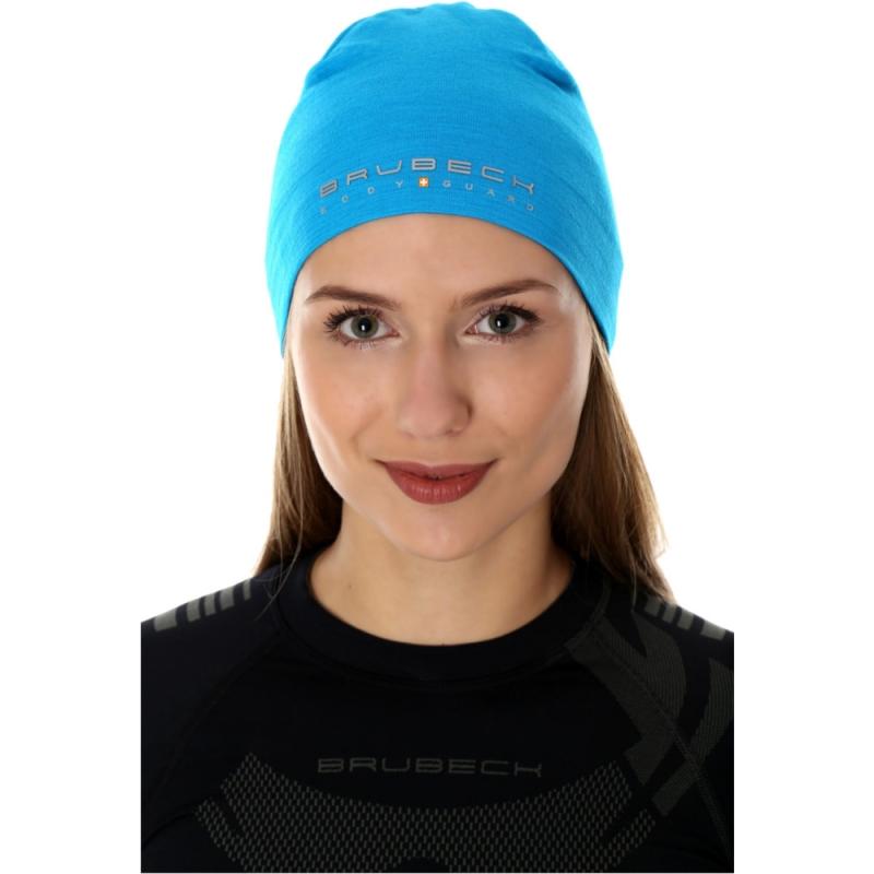 Brubeck Active Czapka wełniana merino unisex błękitna