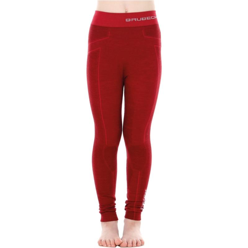 Brubeck Active Wool Spodnie junior termoaktywne bordowe
