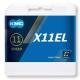 KMC X11 EL Łańcuch 11 rzędowy 118 ogniw + spinka srebrny