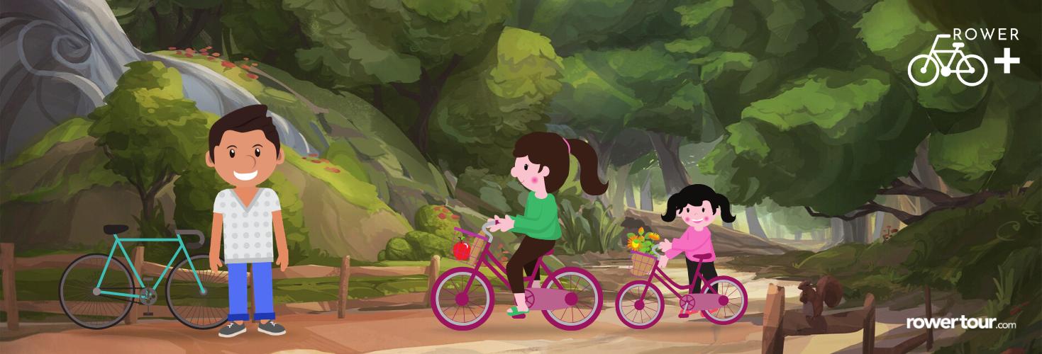 rodzina na rowerach z programu rowerplus